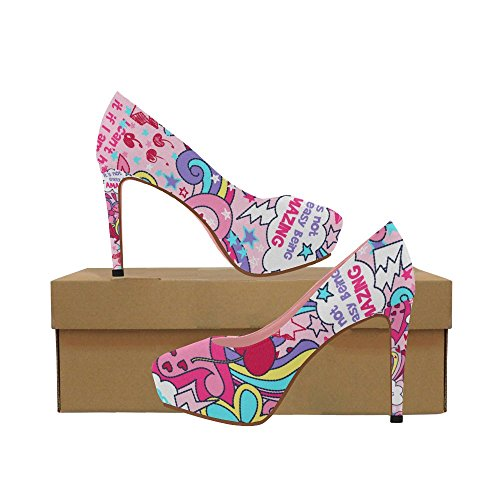 Graffiti Cartoon 5 11 Shoes Pumps Heel InterestPrint high Pattern Colorful Wedge Womens Flowers Color5 Ethnic Size v1Tvqz