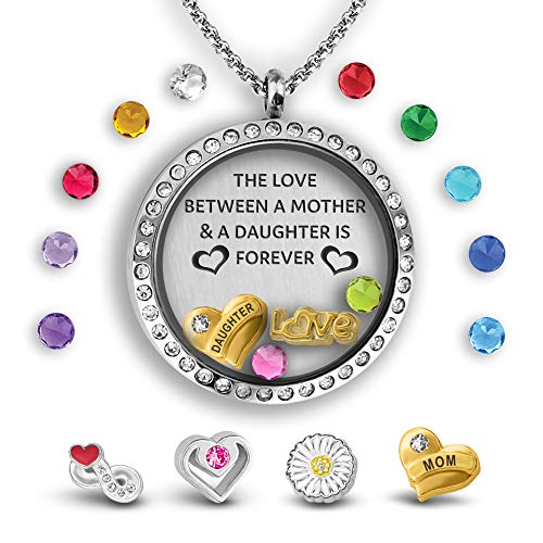A Touch of Dazzle Mother Daughter Necklace Floating Charm Locket Daughter Gifts 30mm Stainless Steel