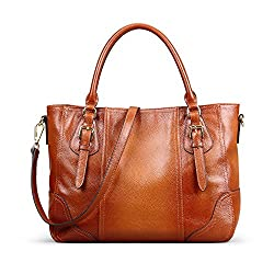 Kattee Vintage Genuine Soft Leather Shoulder Handbag Sorrel