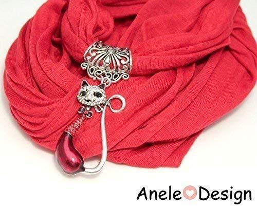 Écharpe foulard bijou rouge ღ Chat cristal