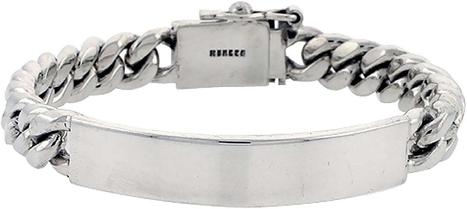 925 Sterling Silver Polished 4mm Curb Link Engraveable ID Bracelet 7