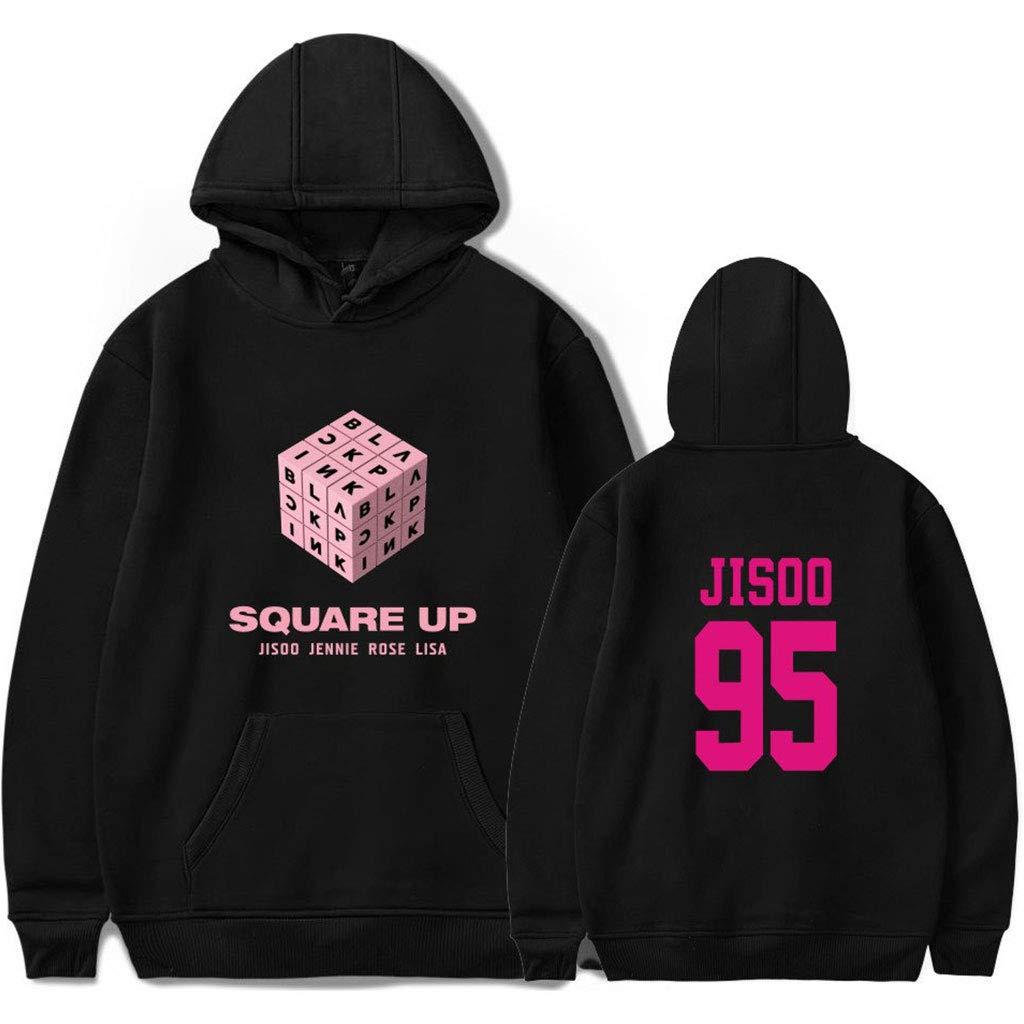JAGENIE Women Unisex Pullover Hoodies Sweatshirts Letters Print Kpop for Blackpink Fans A 2XL