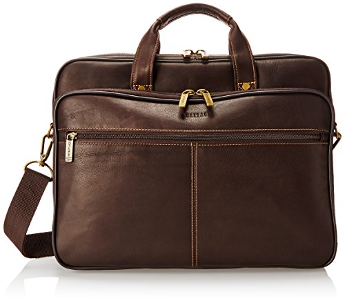 Lined Top Zip Briefcase (Heritage Double Gusset Top Zip Computer Case Holds Most 15.4 Inch Size Laptops, Brown, One Size)