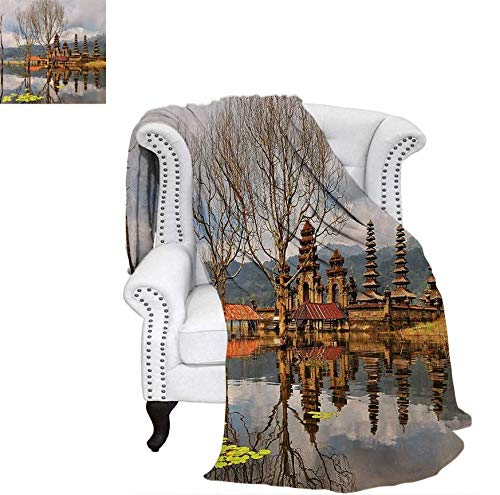 Super Soft Lightweight Blanket Forest Trees Temple Cloudy Sky Reflection on Tamblingan Lake Bali Landscape Print Oversized Travel Throw Cover Blanket 70