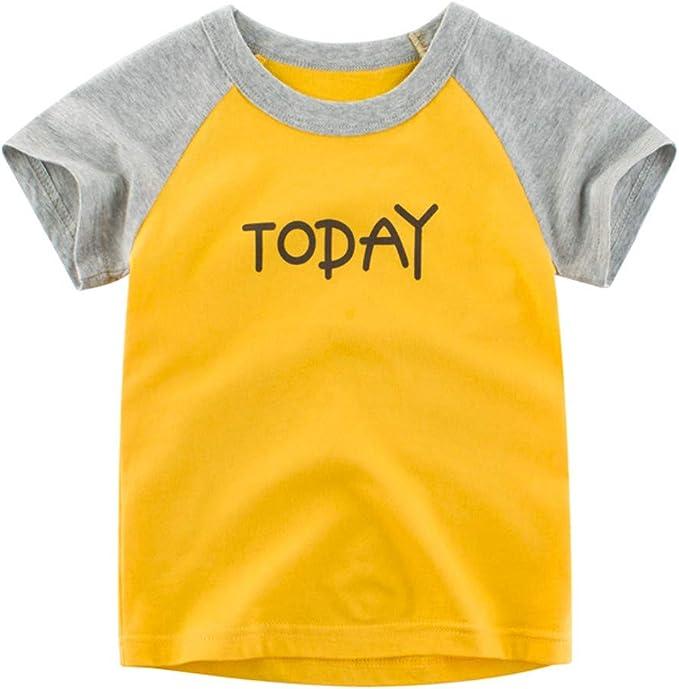 PinkLu Bebé Niño Manga Corta Cosiendo Impresión de Letras Camiseta Arriba Primavera Verano Cómodo Niños Ropa: Amazon.es: Ropa y accesorios