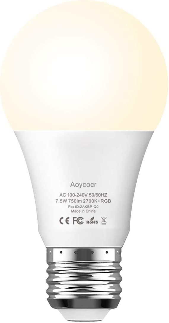 Smart Light Bulb Dimmable Soft White 2700K RGBW - Aoycocr A19 E26 Color Changing Lights Bulb Work with Alexa Google Home for Smart Home, No Hub Required, 750 Lumens, 7.5 (65W Equivalent), 1 Pack