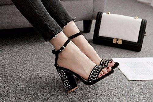 Grueso Gordos GTVERNH Mujer Grandes Zapatos black Estudiantes Sandalias Medio Tacón Pies de Fino Y Salvaje Verano PfCrOWPS