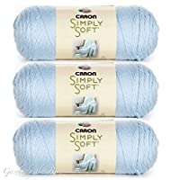 (3-Pack) Caron Simply Soft 100% Acrylic Yarn ~ SOFT BLUE # 9712 ~ 6 oz. Skeins