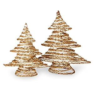 National Tree Company Assortment of Rattan and Cotton Trees with Champagne Gold Glitter - Set of 2 6