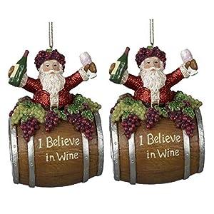 Kurt Adler 4 Inche Polyresin Santa on a Wine Barrel Ornament