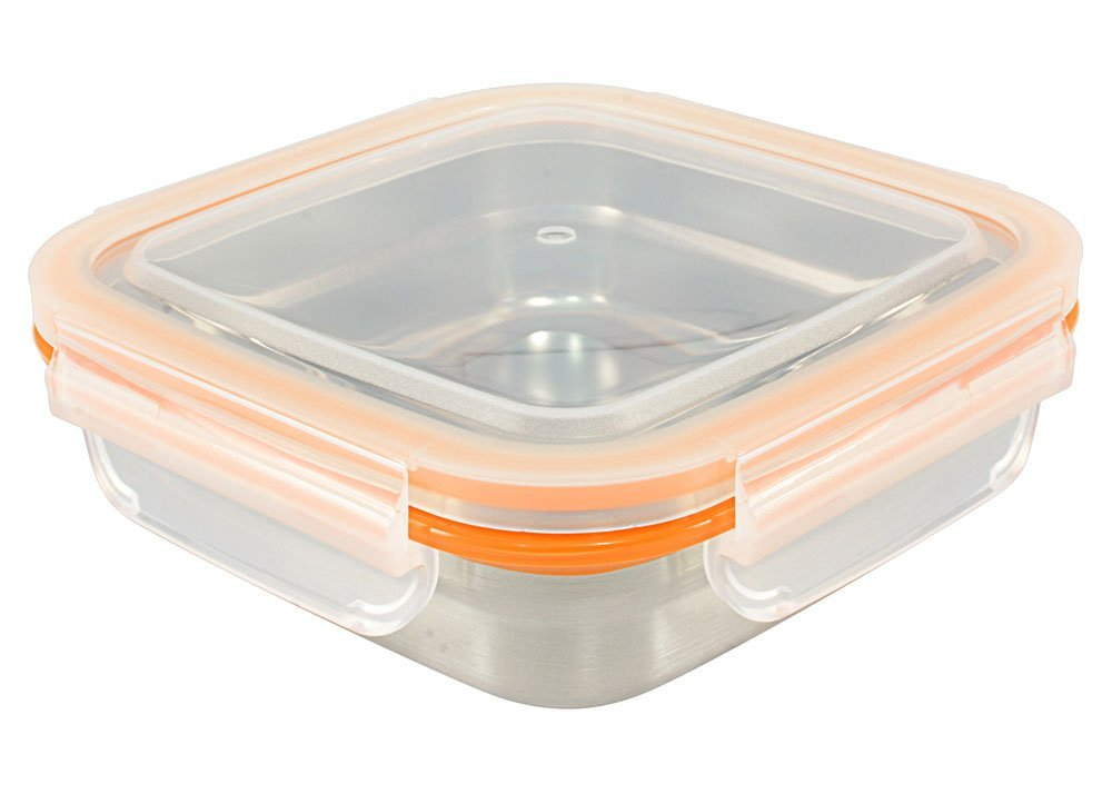 Mighty Hippo SQUARE Stainless Steel Food Container (Size: MEDIUM) - Perfect For Lunch (Leak Proof/Dishwasher Safe/Reusable / Food Safe/Metal / BPA Free)