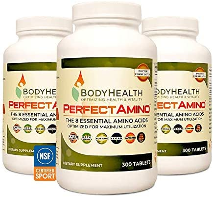 BodyHealth PerfectAmino (300 Tablets) 8 Essential Amino Acids Supplements with BCAA, Increase Muscle Recovery, Boost Energy & Stamina, 99% Utilization, Vegan Branched Chain Protein Pre/Post Workout 2