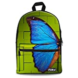 Cheap FOR U DESIGNS Cool Blue Butterfly Print Backpack Travel 13 Inch Laptop Bag Pack