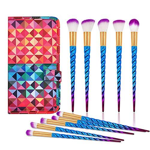 MONOLED Makeup Brushes, Makeup Brush Set, Premium Synthetic Makeup Brushes for Foundation Eye Face Eye Shadow Lip Concealer Liquid Powder Cream Blending Blush Cosmetics Brush Kit with Leather Bag
