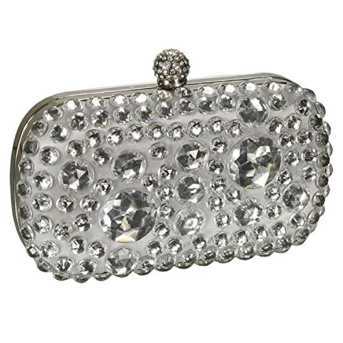 Sparkly Crystal Satin Clutch Evening Bag Gift Boxed With A Long Chain - Gift Boxed Silver