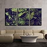 wall26 - 3 Piece Canvas Wall Art - Green Monstera leaves texture for background - top view - in dark tone. - Modern Home Decor Stretched and Framed Ready to Hang - 24''x36''x3 Panels