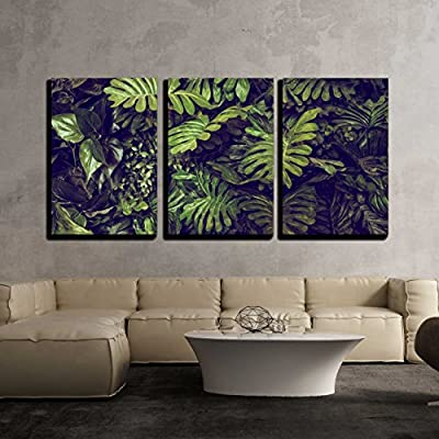 Green Monstera Leaves Wall Decor x3 Panels - Canvas Art