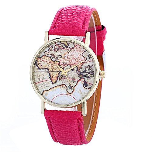 Unisex Watch Quartz Wristwatch World Map Leather Band 1 - 7