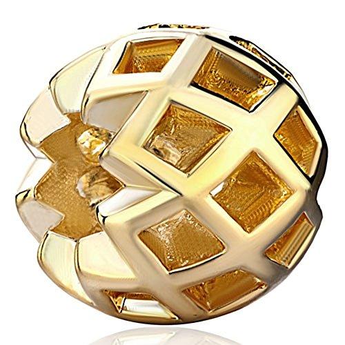 Pugster Filigree Vintage Antique Golden Charm Bead Fits Pandora Charms Bracelet