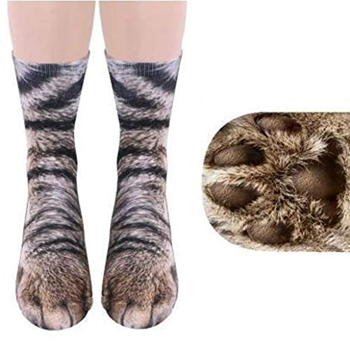 Funny Animal Paw Socks Gag Gifts for White Elephant Gift Exchange (Cat) -