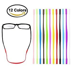 Deruicent 12 Pair Kids Eyeglass String Retainer, Anti-slip Sports Eyewear Retainer, Elastic Comfortable Silicone Eyeglass Chains,Glasses Sunglasses Cord Holder for Kids