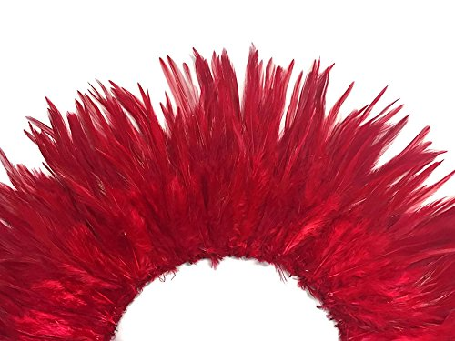 Moonlight Feather | 4 Inch Strip - Red Strung Chinese Rooster Saddle Feathers Halloween, Fly Tying, Wedding Craft