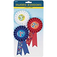 Amscan 330860 Award Ribbon, 6-Inch, 1st 2nd and 3rd Place, 9-Pack