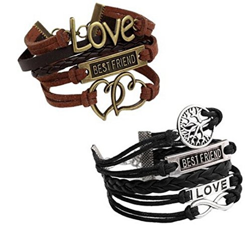 Fineshow 2pc Handmade Vintage Multilayer Charm Infinity Love Best Friend Wish Wrap Cuff Bracelet