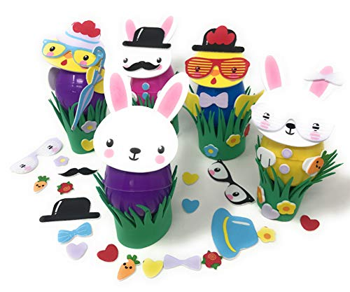 Bulk 18 Sets of Easter Egg Decorating Foam Kids Craft Kits (Easter Eggs Not Included) - No Mess. No Stains