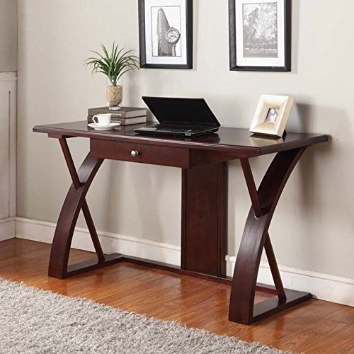 Amazon Roundhill Furniture Solid Wood Computer Desk, Cherry Brown  Kitchen & Dining