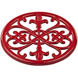 Home Basics Cast Iron Fleur De Lis Trivet (Red)