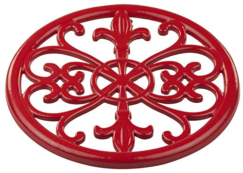 Home Basics Cast Iron Fleur De Lis Trivet (Red) Cast Iron Steel Trivet