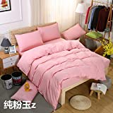 Solid Color Stlye Cotton 4Pcs Bedding Set 1 Duvet cover 1 Sheet 2 PillowKing^^^Jade pink^^^pink