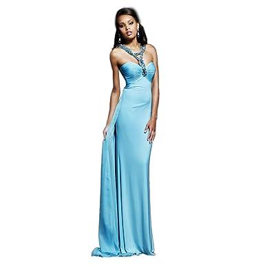 Sherri Hill Halter Chiffon Gown Aqua - 0