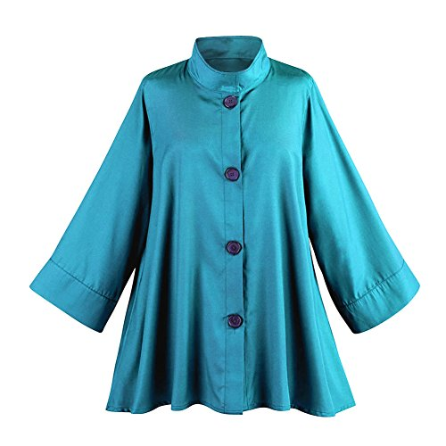 Breeke & Company Women's Iridescent Fashion Swing Jacket - Button Down - Teal - Large/XL by Breeke & Company