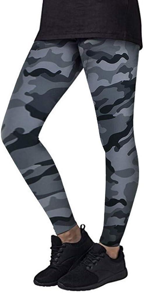 MEIbax Leggings Deportes Pantalones para Mujeres de Moda Camuflaje Estampado Gimnasio Athletic Entrenamiento Fitness Gym Classics Casual Skinny de Mid Cintura Mallas de elásticas Camo Leggings