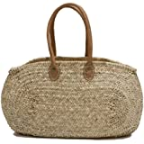 """Moroccan Straw Oval Tote Bag w/ Leather Handles, 22""""Lx6""""Wx12.5""""H - Malta"""