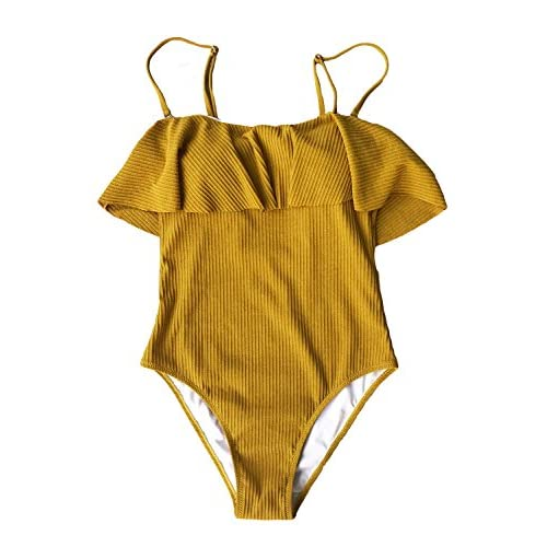 Cupshe Fashion Women's Yellow Falbala With Lining Padding One Piece Swimsuits Beach Bathing Suit