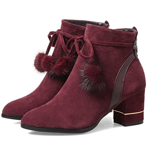 COOLCEPT Mujer Moda Ankle Botas de Ancho with Cremallera Wine Red