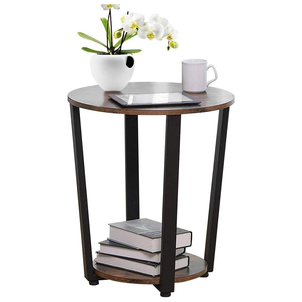 shamoluotuo Industrial End Table Round Chair Side Table Vintage Night Stand with Storage Shelf Corners Bedside Beside Cabinet for Living Room & Bedroom Office Use (Retro Brown, 19.7'') by shamoluotuo-Furniture