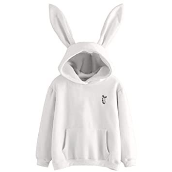 ZJSWCP Sweatshirt New Casual Women Sweatshirt with Pockets Long Sleeve Rabbit Hoodie Sweatshirt Pullover Tops Blouse