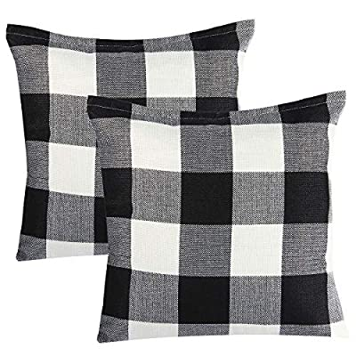 Steven.Smith 2 Pack Christmas Red White Buffalo Checkers Plaids Throw Pillow Cover Xmas Decor Cushion Covers Square 18x18 Inch Linen Home Office Living Room Sofa