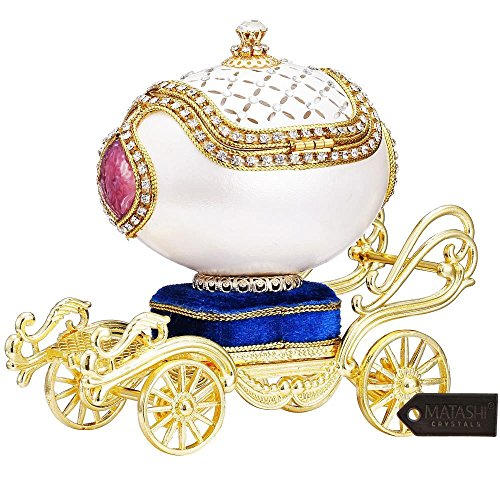 Matashi Princess Carriage Trinket Music Box Elegant Table Top Ornament with Crystals Showpiece Centerpiece for Home Living Room Decor Gift for Musician Christmas New Year Birthday (Trinket, Swan Lake)
