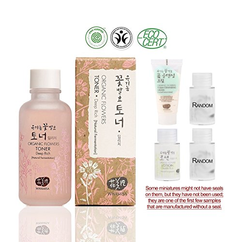 Whamisa [ Skin Care Kit ] Organic Flowers Deep Rich Toner 120ml / Double Rich Lotion 20ml / Cleansing Foam 20ml and Two more Organic Natural Random Miniatures - Naturally fermented, EWG Verified