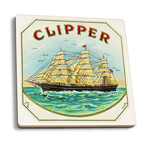 (Clipper Brand - Nautical - Vintage Cigar Box Label (Set of 4 Ceramic Coasters - Cork-Backed, Absorbent))