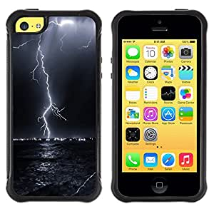 LASTONE PHONE CASE / Suave Silicona Caso Carcasa de Caucho Funda para Apple Iphone 5C / Thunder Lightning Storm Sky Black Night