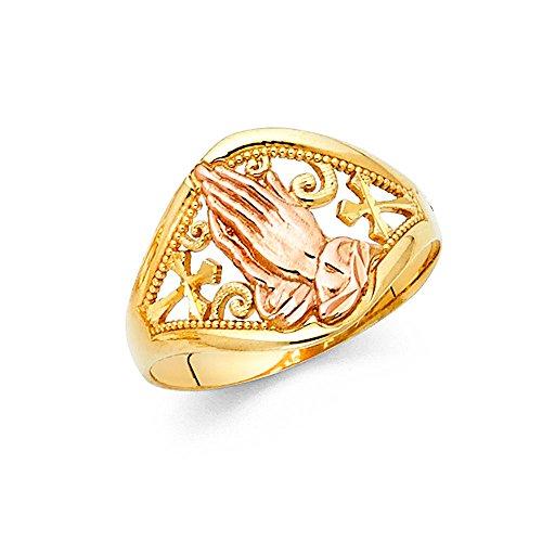 Praying Hands & Cross Ring 14k Yellow Rose Gold Lords Prayer Band Filigree Tapered Design 15MM, Size 9