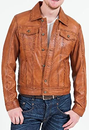 Mens Vintage Tan Leather Jacket - Denim - Superior Soft Quality ...