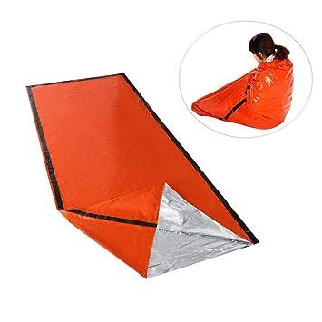 FJROnline Saco de Dormir de Supervivencia, Saco de Dormir de Primeros Auxilios para Camping, Senderismo, Color Naranja: Amazon.es: Deportes y aire libre