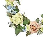 FAVOWREATH-2018-Romantic-Series-FAVO-W71-Handmade-14-inch-PinkGreen-RosesDaisyLeaf-Grapevine-Wreath-for-SummerFall-Festival-Front-DoorWallFireplace-Wedding-Floral-Hanger-Natural-Home-Decor